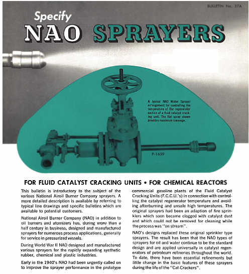 NAO Bulletin 27A -- NAO Sprayers -- for Fluid Catalyst Cracking Units, for Chemical Reactors, for Quench, for Scrubbing