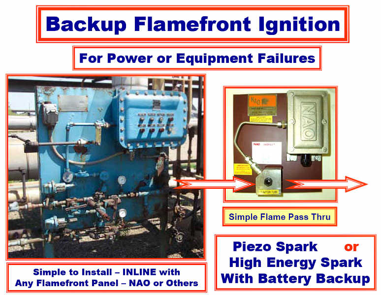 NAO BACKUP FLAMEFRONT GENERATOR IGNITOR -- Idea for Equipment or Power Failure -- RELIABLE BACKUP Piezo(Non-Electric) or High Energy Spark with Battery Backup