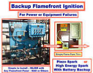 NAO Backup Ignitor for Existing Flamefront Flare Ignition -- Simple, Reliable Backup in the Event of Equipment or Power Failure -- ELMINATES possible cause for ENVIRONMENTAL FINE $$$
