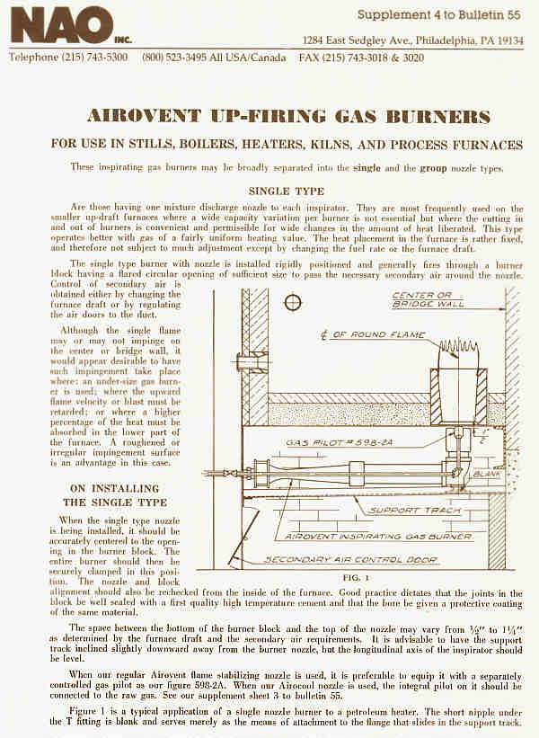 Bulletin 55 Supplement 4 -- NAO Airovent Gas Burners for Up-Firing and Angle Firing -- Inspirating type burner with low excess air and low NOx