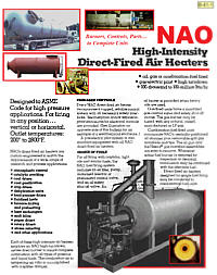NAO High-Intensity Direct-Fired Air Heaters Literature PROCESS AIR HEATERS for STARTUPS, WARMUP, DRYING, REHEAT