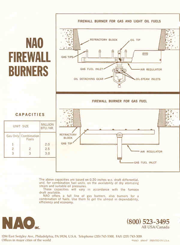 NAO Firewall™ Burners  --  Bulletin 591 Page 2 BACK-- Verrtical Radiant Wall Burner for Gas and Light Oil