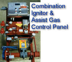 Combination Flamefront Ignition Panel for Flare Pilots with Thermocouple Monitoring and Center Gas Assist Control by means of Electronic Flow Sensor in Waste Gas Header and Control Valve (Waste Gas Flow shown in Weatherproof Window on Control Panel Box)