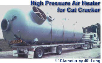 Large capacity high pressure direct fired air heater for cat cracker startup in oil refinery -- 225 MM Btu/Hr firing rate -- refinery gas: methane, ethane, propane, butane and hydrogen
