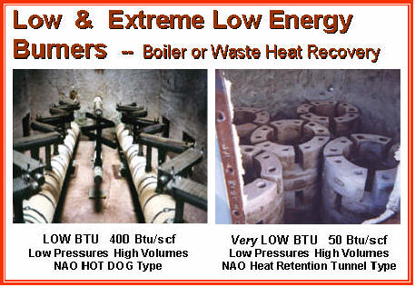 Low & Extremely Low Energy Burners -- LOW BTU GASES with HIGH INERTS, such as CO2, N2 or Water Vapor