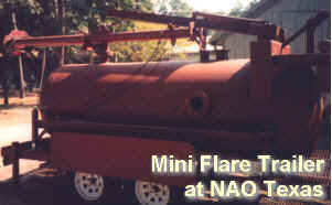 Mini Trailer Flare at NAO Texas -- Shows combination (150PSIG ASME) drum for liquid disentrainment and flashback protection