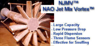 NAO NJMV Jet Mix Vortex Vent Tip with 3 Flame Sensors -- Used with large venting flow rates -- Best with Dry Chemical -- Can also be used with CO2, N2 or Steam for snuffing -- Not recommended with Halon or Substitutes due to HIGH TURBULENCE LEVELS -- Halon will chemcially breakdown without snuffing the flame -- FLAME IS TOO INTENSE for HALON
