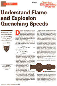 RP 93-6 Chemical Engineering Progress Reprint - May 1993 - Understand Flame & Explosion Quenching Speeds 4 Pages