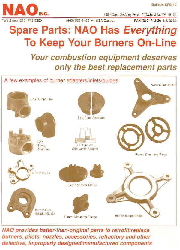 Bulletin SPB-10 -- NAO Spare Parts -- Burner Adapters,  Inlets, Guides, Jet Holders, Centering Rings, Support Collars
