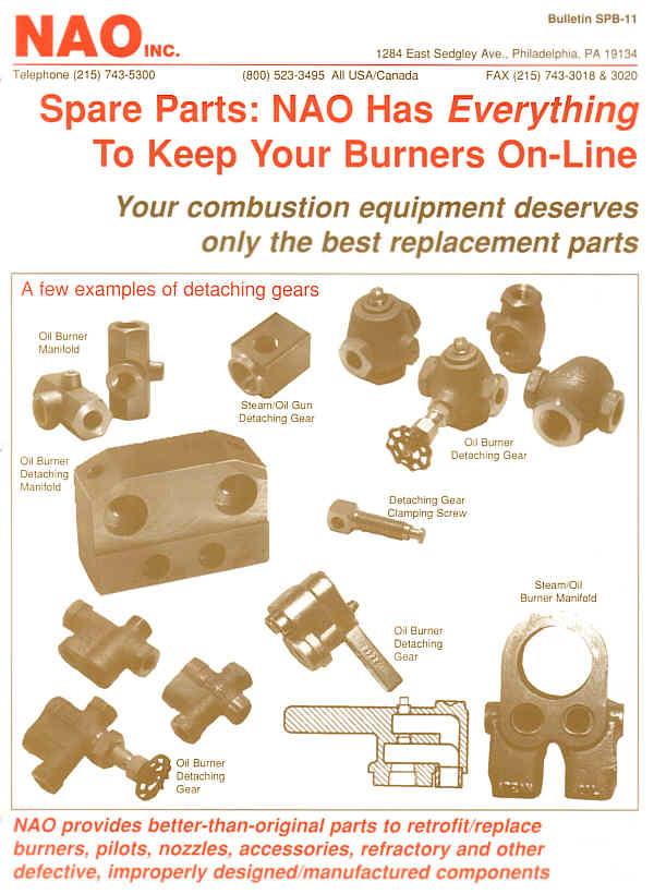 Bulletin SPB-11 -- NAO Spare Parts -- Burner Detaching Gears & Manifolds, Clamping Screws, Valved Bypass Manifold