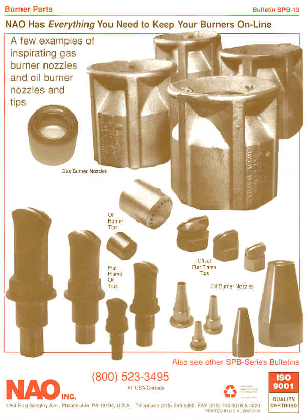 Bulletin SPB-13 Page 2 BACK -- Gas Burner Nozzles, Oil Burner Tips Round & Flat Flame also left & right firing tips