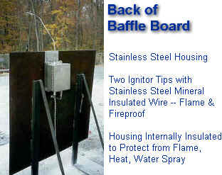 Fire Simulation - BAFFLE BOARD -- Showing Back of Board with Dual High Energy Electronic Ignitors -- Stainless Steel Mineral Insulated Ignitor Wire --  ALL FIRE & FLAMEPROOF