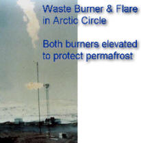Oil Well Test -- Waste Burner & Flare in Arctic -- Both burners elevated to protect permafrost from thermal radiation from flames