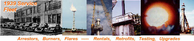 NAO Services arrestors, burners, flares, oxidizers with field assistance, rentals, retrofits, testing & upgrades