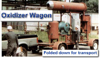Oxidizer wagon for soil remediation, tank venting, odor control -- shown folded down for transport