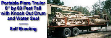 "8"" by 80' Tall Portable Flare Trailer with Disentrainment & Water Seal Drums"