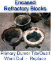 Worn or craked burners tiles can reduce overall burner efficiency and operation (turndown, flame stability, flame shape)