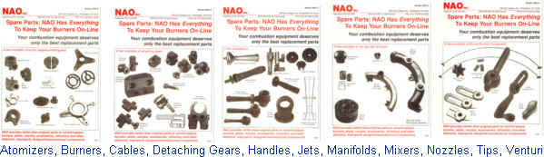 Spare Parts: Atomizers, Burners, Cables, Cores, Detaching Gears, Handles, Jets, Manifolds, Mixers, Nozzles, Operators, Packings, Pilots, Seals, Spark Plugs, Tips, Valves, Venturi
