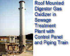 Roof Mounted Sewage Gas Digestor Oxidizer with Control Panel and Piping Train