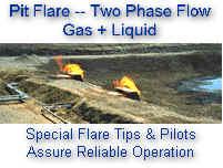 Dual Horizontal Flares in Pit for Gas / Liquid Disposal